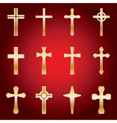 12 Golden Crosses vector image vector image