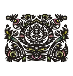 black decorative floral pattern vector image vector image