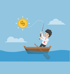 businessman catching dollar coin by fishing rod vector image vector image