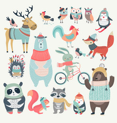 Christmas set with cute animals hand drawn style vector image vector image