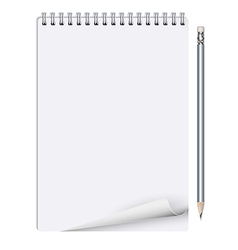 Notebook with pencil on white background vector image vector image
