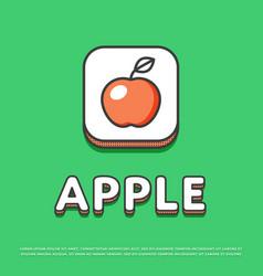 apple colour icon in line design vector image