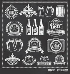 Beer chalkboard icon set vector image