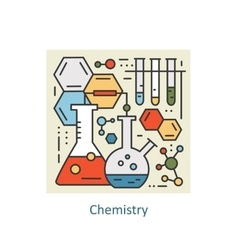 Modern color thin line concept of chemistry for vector