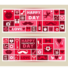 set banners of Valentines Day vector image vector image