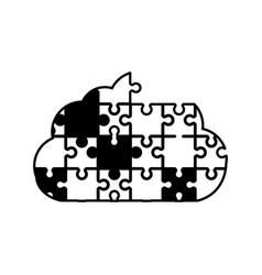 cloud puzzle solution monochrome vector image