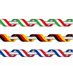 colored ribbon with the italian german french vector image vector image
