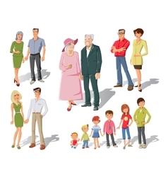 Family generations cartoon set vector