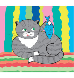 funny cat with fish vector image vector image