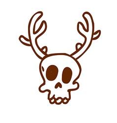 Hand Drawn Reindeer Skull vector image vector image