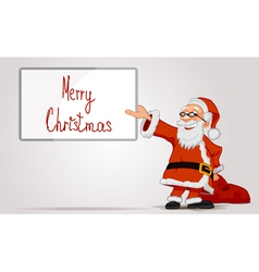 Santa holding in hands a frame and bag vector image vector image