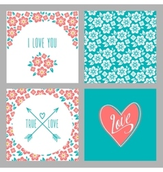 Set of Flower wedding invitation cards and 4 vector image vector image