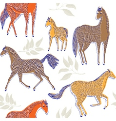 horse drawing screenprint vector image vector image