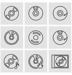 line cd icon set vector image vector image