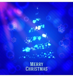 Merry christmas tree made from shining bokeh on vector image