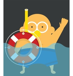 Swimmer with lifebuoy vector image vector image