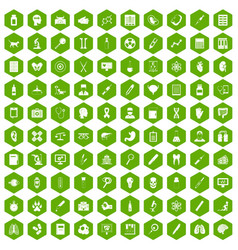 100 diagnostic icons hexagon green vector