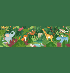adorable exotic animals in tropical forest vector image