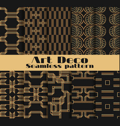 Art deco seamless patterns set of ten geometric vector