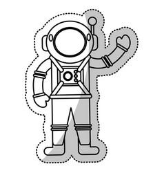 Astronaut space suit helmet outline vector