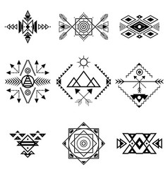 aztec style ornament black thin line icon set vector image