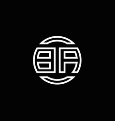 ba logo monogram with negative space circle vector image