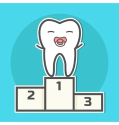 Babytooth with soother on pedestal vector image