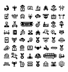 Big fitness icons set vector