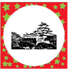 Black 8-bit himeji castle isolated vector