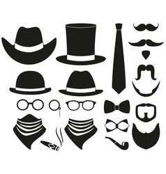 black and white hipster 21 silhouette element set vector image