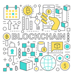 Blockchain text and global network finance concept vector