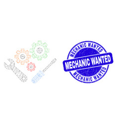 Blue grunge mechanic wanted stamp and web mesh vector