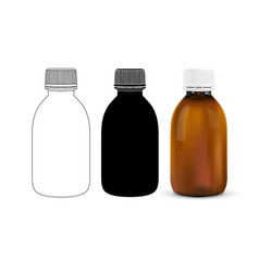 brown plastic bottle outline drawing silhouette vector image