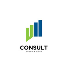 Business consulting logo template growth chart vector
