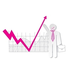 Businessman holding falling down graph line and vector image