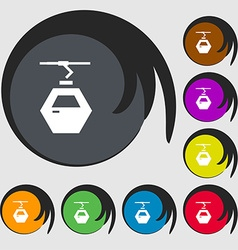 Cableway cabin icon sign Symbols on eight colored vector