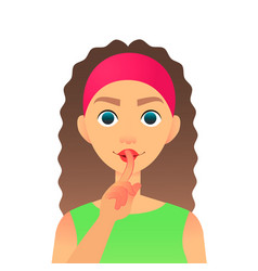 cartoon beautiful woman saying hush be quiet with vector image