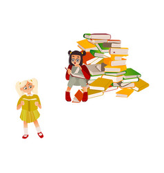 cartoon girls reading book set vector image