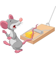 Cartoon mouse in a mousetrap isolated vector image