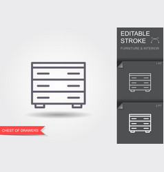 chest drawers line icon with editable stroke vector image