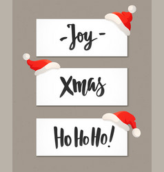 Christmas banners with holiday greeting quotes and vector