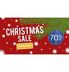 Christmas Sale with christmas ball 70 percent vector image