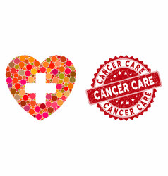 collage cardiology with grunge cancer care seal vector image