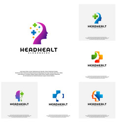 collection head health logo template head vector image