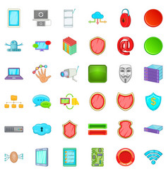 computer database icons set cartoon style vector image