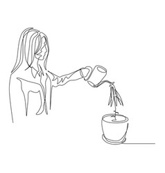 continuous one line woman is watering a plant in a vector image