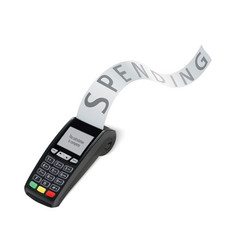Credit card trminal machine with long shopping vector