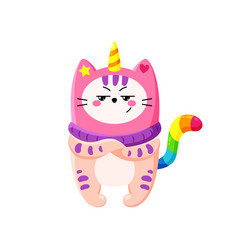 Cute cartoon doodle cat vector