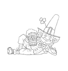 elf leprechaun with beer for vector image