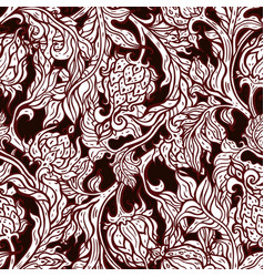 exotic garden hand drawn paisley flowers vector image